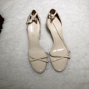 BCBG Cream Patent Strappy Heels Size 8.5